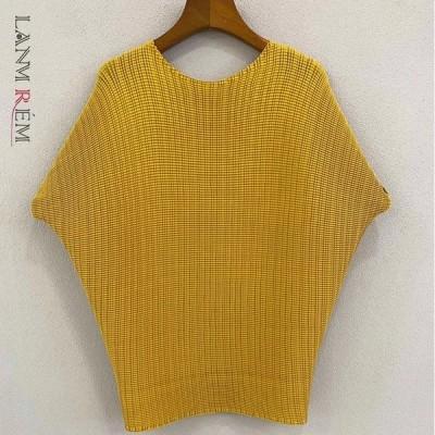 海外輸入アパレル LANMREM新しい女性のTシャツ薄いバットウィングスリーブラウンドネック気質ルーズフィットファッションタイド夏20212P2264