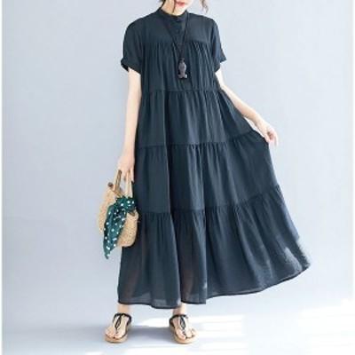 マキシワンピース ワンピース レディース ロングTシャツ オシャレ 夏 黒ワンピース フレア 半袖 カジュアル 体型カバー 韓国風 40代 上