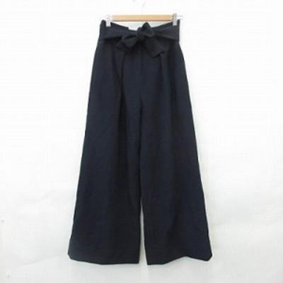 【中古】ミラオーウェン Mila Owen パンツ ロング ワイドパンツ リボン 黒 ブラック 紺 ネイビー F レディース