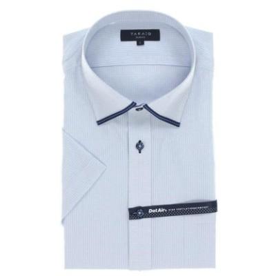 形態安定 DotAir スリムフィット ワイドカラー半袖シャツ