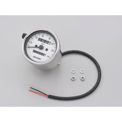 デイトナ(DAYTONA)機械式スピードメーター φ60 ホワイトLED照明 ステンレスボディ/ホワイトパネル/15635