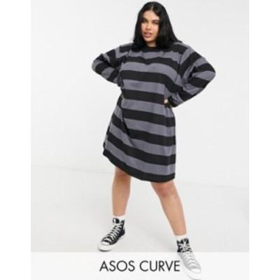エイソス レディース ワンピース トップス ASOS DESIGN Curve oversized t-shirt dress with long sleeve in black and gray stripe Gray
