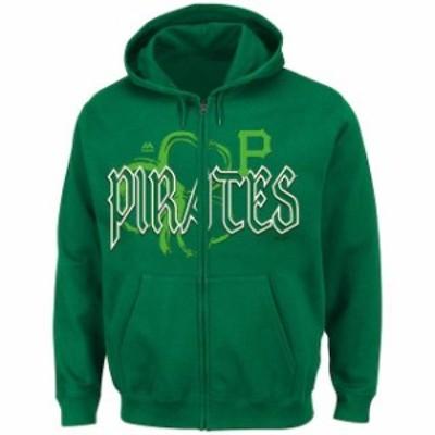 Majestic マジェスティック スポーツ用品  Majestic Pittsburgh Pirates Green Lucky Season Full Zip Hoodie