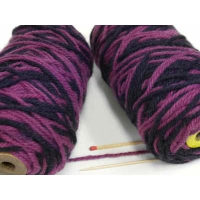 極太紡毛ウールカスリ(赤紫×濃紫) がっしりしたウールをお探しの方に