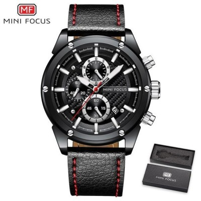 メンズ腕時計 スポーツウォッチ 防水 レザーストラップ クロノグラフ クォーツ腕時計 男性