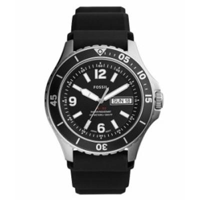 フォッシル メンズ 腕時計 アクセサリー FB-02 Three-Hand Date Black Silicone Watch Black