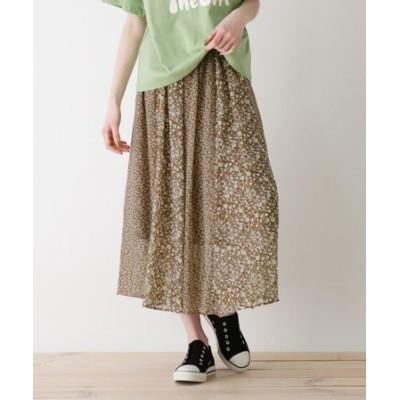 【S-L】花柄切り替えスカート