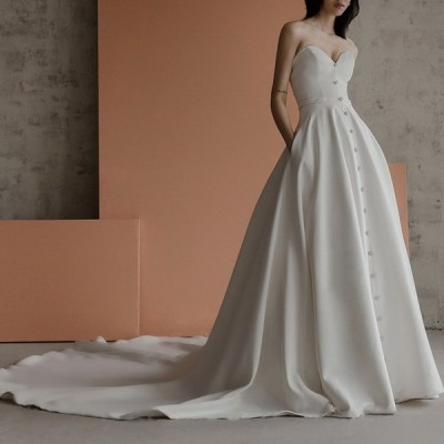 秋新品ウェディングドレス ウェディングドレス白 パーティードレス ビスチェタイプ 花嫁ロングドレス 結婚式 トレーンライン 二次会 エレガント お呼ばれhs5333