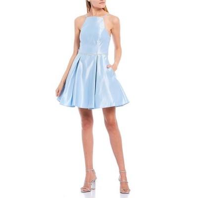 ビーダーリン レディース ワンピース トップス Spaghetti Strap High-Neck Lace-Up Back Beaded Waist Satin Dress