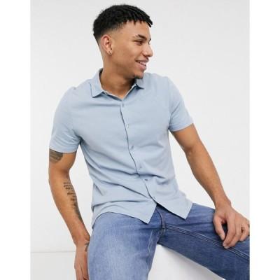 エイソス ワークシャツ メンズ ASOS DESIGN organic standard fit jersey shirt in light blue エイソス ASOS ブルー 青