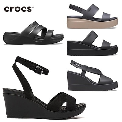 [CROCS] Strap Wedge Black Sandals クロックス 夏 ウェッジ サンダル ストラップ サンダル レ