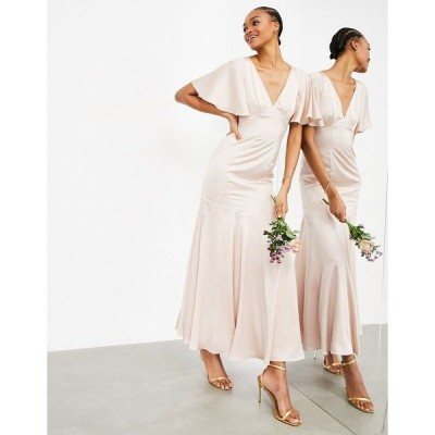 エイソス レディース ワンピース トップス ASOS EDITION satin maxi dress with flutter sleeve in pink Pink