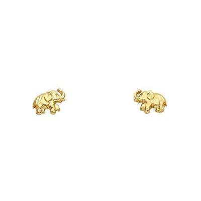 14K イエロー ゴールド Elephant スタッド Earrings (8 X 7mm)(海外取寄せ品)