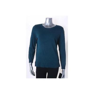 アルファーニミセス セーター ニット Alfani Teal 長袖 Solid クルーネック セーター サイズ M 49 LAFO