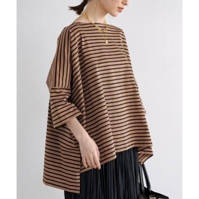 tシャツ Tシャツ ボーダースクエアカットソー