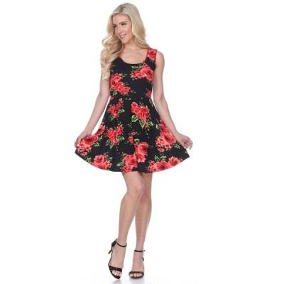 ホワイトマーク ワンピース トップス レディース Women's Floral Crystal Dress Black