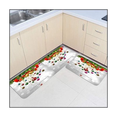 Christmas Balls 2 Piece Set Kitchen Rugs and Mats Non Skid Washable Kitchen Mats Cushioned Anti Fatigue for Home Cedar Bell Ribbon Xmas Holi