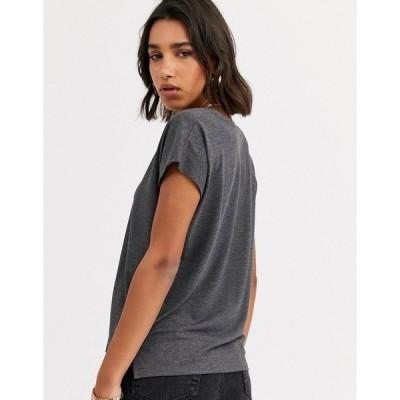 マンゴ レディース Tシャツ トップス Mango v neck eco tshirt in gray Gray