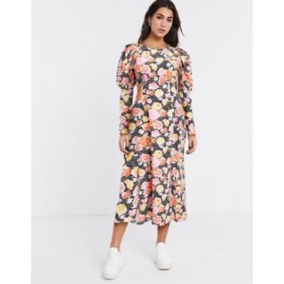 トップショップ レディース ワンピース トップス Topshop volume sleeve midi dress in multi Mul
