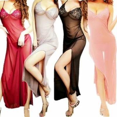 セクシー サイドスリット ロングドレス ★ レディース レース ワンピース タイト ドレス ワンピース ナイトウェア 4色 A13-5