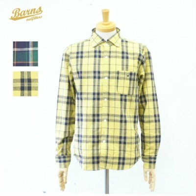 バーンズ BR-7847 ボタンダウンシャツ 長袖シャツ チェックシャツ リネンコットン 綿麻素材 メンズ BARNS OUT FITTERS