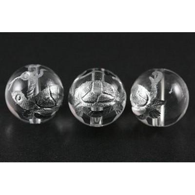 天然石 ビーズ【彫刻ビーズ】水晶 12mm (銀彫り) 玄武 パワーストーン