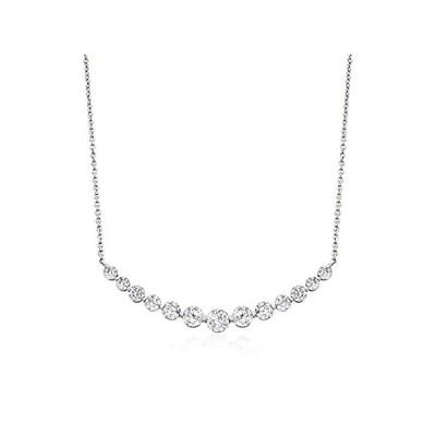 特別価格Ross-Simons 2.70 ct. t.w. CZ Curved Bar Necklace in Sterling Silver. 16 inc好評販売中