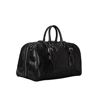Maxwell Scott Classic Leather Travel Bag for Men - FleroM Black 並行輸入品