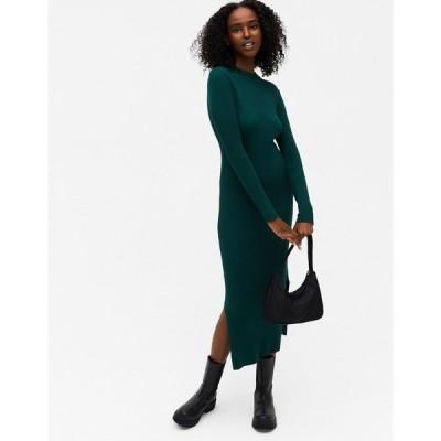 モンキ レディース ワンピース トップス Monki Lemla rib long sleeve midi dress in green Green