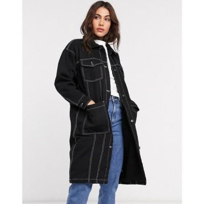 モンキ Monki レディース コート ロングコート アウター denim worker longline coat ブラック