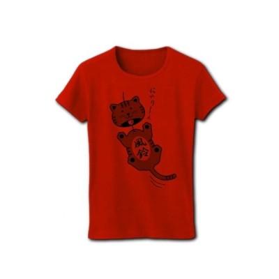 猫の風鈴 リブクルーネックTシャツ(赤)