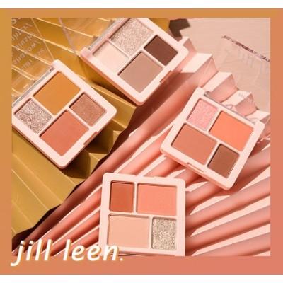 【JILL LEEN】4色アイシャドウポータブルスモールディスクレイジーネットレッドミニコンパクトグリッターアイシャドウ