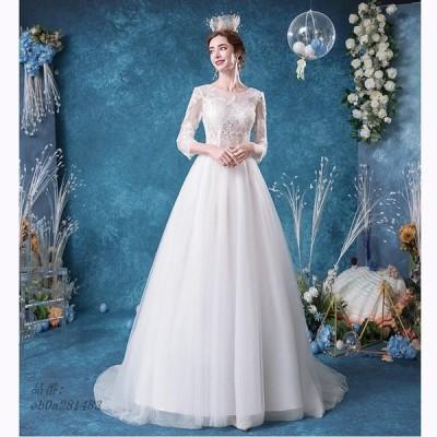 ウエディングドレス ロングドレス パーティードレス コンサート イブニングドレス 二次会 安い 発表会 結婚式 レース 花嫁 フォーマル 演奏会 ホワイト