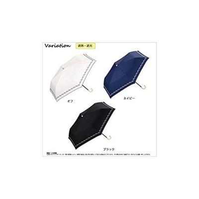 ワールドパーティー(Wpc.) 日傘 折りたたみ傘 オフホワイト 白 50cm レディース 傘袋付き 遮光プチフラワー刺繍 ミニ 801-6