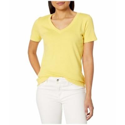 トリバル レディース シャツ トップス Cotton Rib Short Sleeve V-Neck Top Lemon