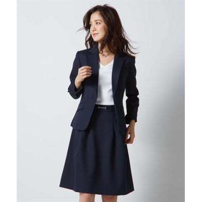 【レディーススーツ】スカートスーツ(テーラードジャケット+タックフレアスカート)(変り織素材) ,スマイルランド, レディーススーツ, women's suits,  plus size women's suits