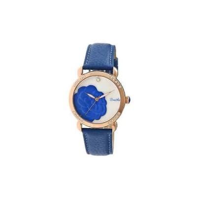 腕時計 バーティー  Bertha Daphne Flower Engraved Mother of Pearl Dial Blue Leather Strap Ladies