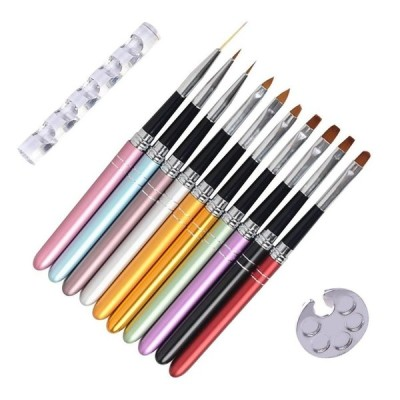 ネイル筆ネイルアートブラシセット透明ブラシホルダー1個ジェルネイルブラシ10本ネイルアートネイル用品道具