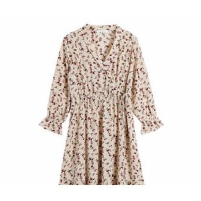 ワンピース フレア 長袖 ロング 大きいサイズ ロング丈 大人可愛い ホルターネック 秋冬 デート 袖あり ボリューム袖 花柄