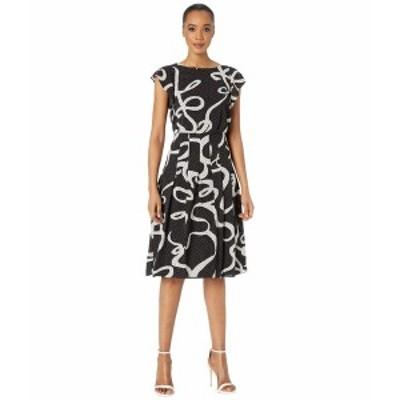 アドリアナ パペル レディース ワンピース トップス Dotted Ribbon Blouson Dress Black Multi