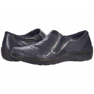 Clarks クラークス レディース 女性用 シューズ 靴 ローファー ボートシューズ Cora Giny Navy Textile/Leather Combination【送料無料】