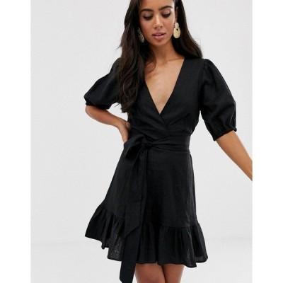 エイソス レディース ワンピース トップス ASOS DESIGN tie front wrap mini dress Black