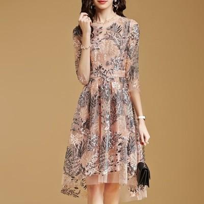 花柄 刺繍 ドレス ワンピース 透け感 五分袖 お呼ばれ パーティー 二次会 結婚式 ひざ丈 パーティードレス 半袖 大きいサイズ