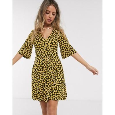 エイソス レディース ワンピース トップス ASOS DESIGN floral mini button front swing dress in black and yellow