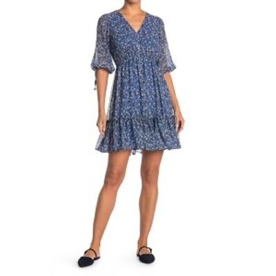 テイラー レディース ワンピース トップス Floral Print V-Neck Dress NAVYSKY BL