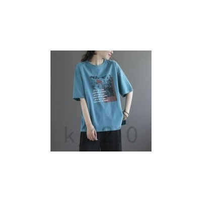 Tシャツレディーストップス5分袖丸首ワンポイント薄手コットンフリーサイズ4色展開ゆったりサイドスリットファッションカジュア