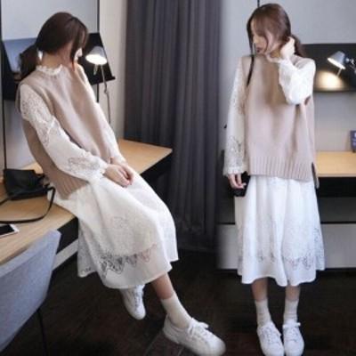 ニットベスト ワンピース セットアップ インスタ映え 大人 オシャレ着 レディース セット服 コーデ 韓国 ファッション