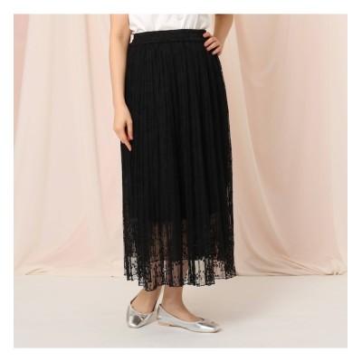 【クチュール ブローチ/Couture brooch】 【洗える】チュールレースプリーツスカート