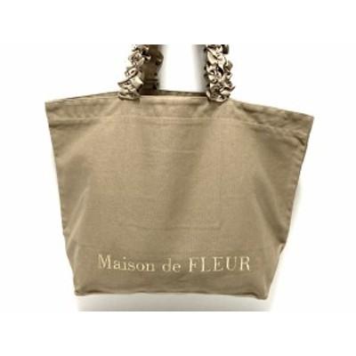 メゾンドフルール Maison de FLEUR ショルダーバッグ レディース - ライトブラウン フリル キャンバス【中古】20210127