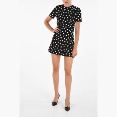 SAINT LAURENT PARIS/イヴ サンローラン ミニドレス Black & White レディース 秋冬2019 Mini Dress with Polka Dots dk
